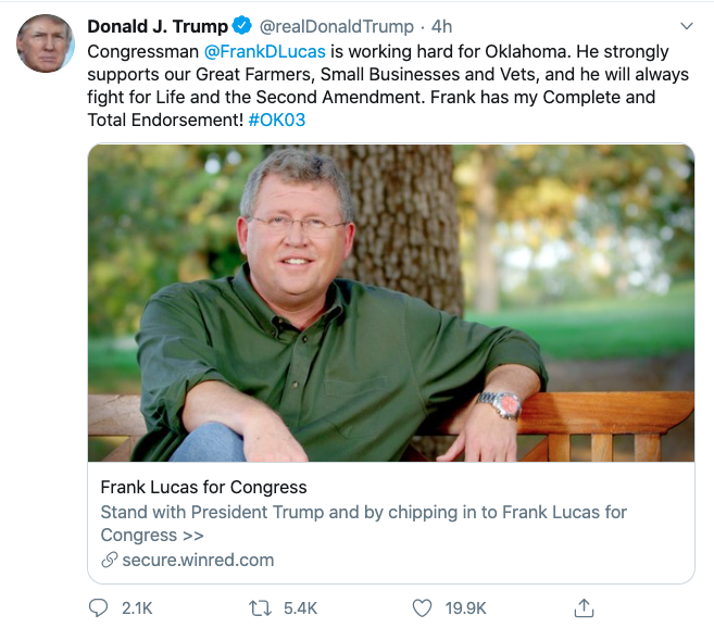 President Trump Endorses Frank Lucas for Congress